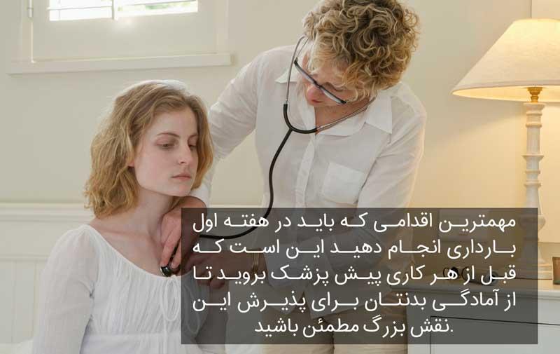 مراجعه به پزشک در هفته اول بارداری